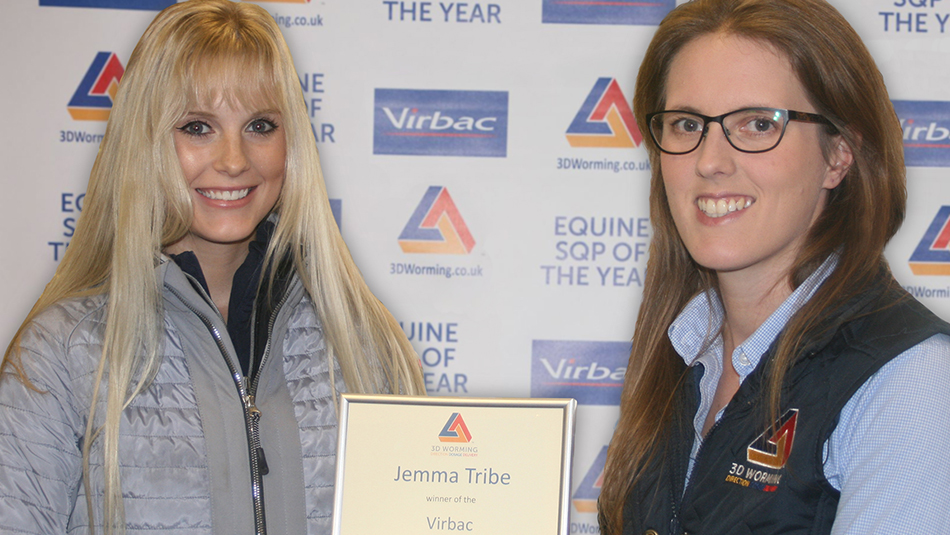 Jemma Tribe receiving her award from Louise Good, Virbac Territory Sales Manager.